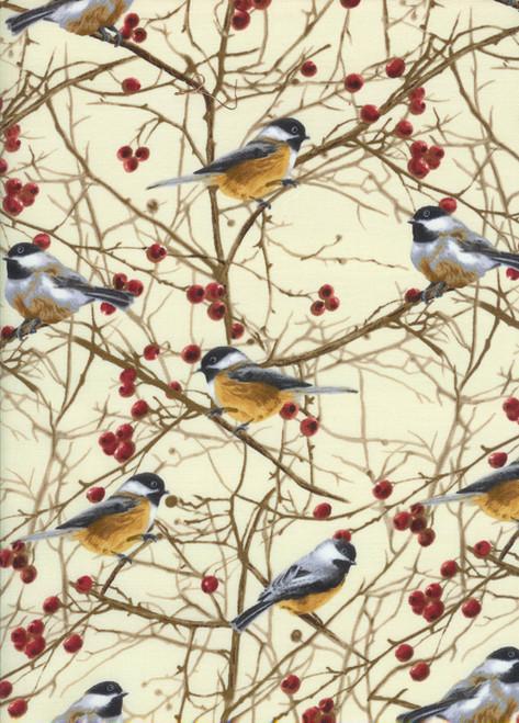 Cotton Print Yarmulkes Chickadees - CREAM