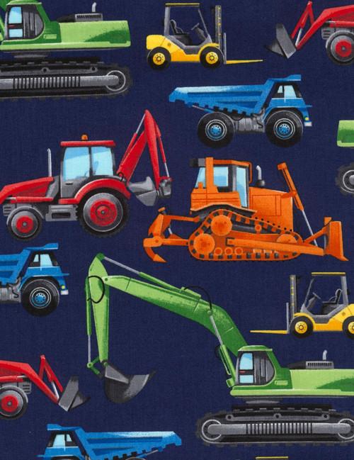 Cotton Print Yarmulkes Construction Vehicles - NAVY