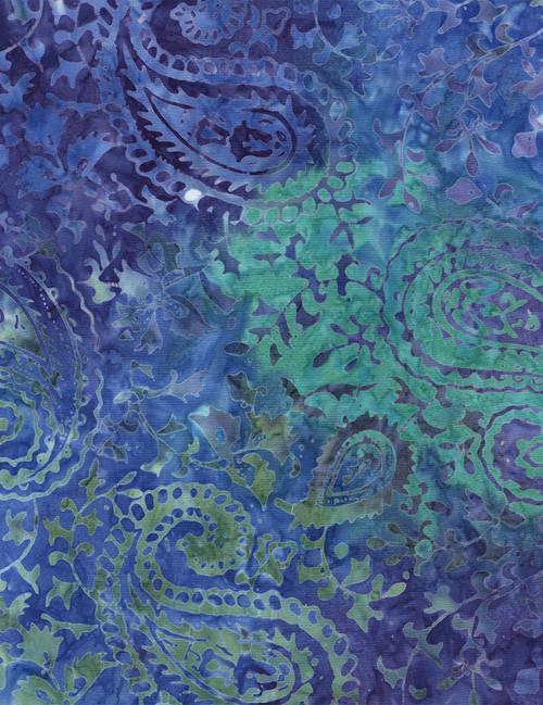"Cotton Print Yarmulkes 106"" Wide Batik Backing - JEWEL"