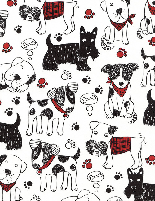 Cotton Print Yarmulkes Scribble Dogs - WHITE