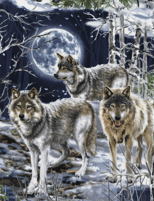 Cotton Print Yarmulkes Howl at the Moon - WOLF
