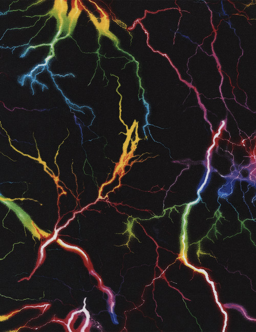 Cotton Print Yarmulkes Multi Lightning - BLACK