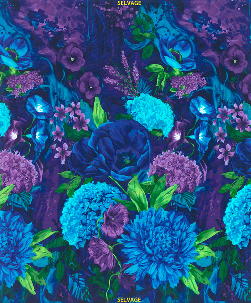 "Cotton Print Yarmulkes 24"" Large Scale Floral - MIDNIGHT"
