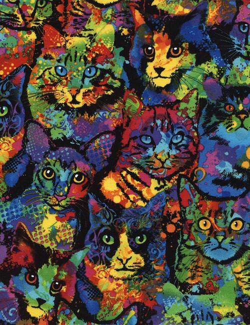 Cotton Print Yarmulkes Paint Splatter Cats - MULTI