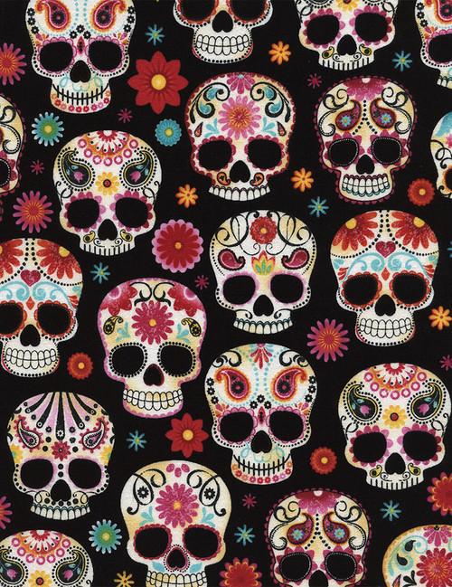 Cotton Print Yarmulkes Sugar Skulls - Fun BLACK