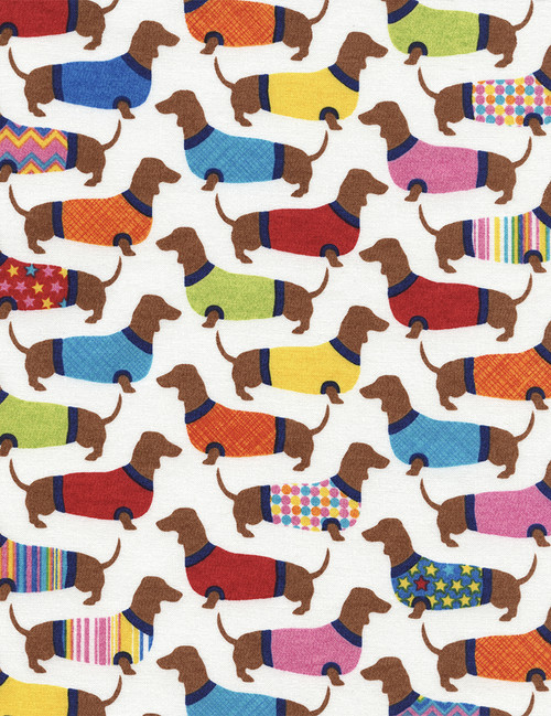 Cotton Print Yarmulkes Dachshunds in Sweaters - WHITE