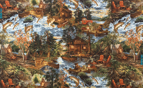 Cotton Print Yarmulkes Fishing Trip - FOREST