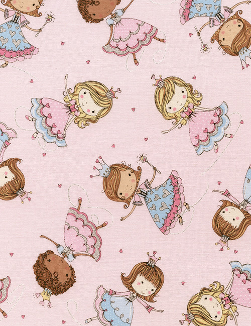 Cotton Print Yarmulkes Glitter Princesses - PINK