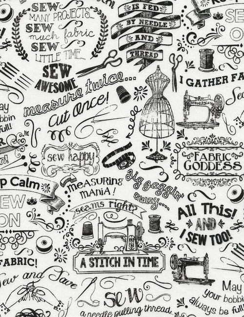 Cotton Print Yarmulkes Sewing Chalk Words - WHITE