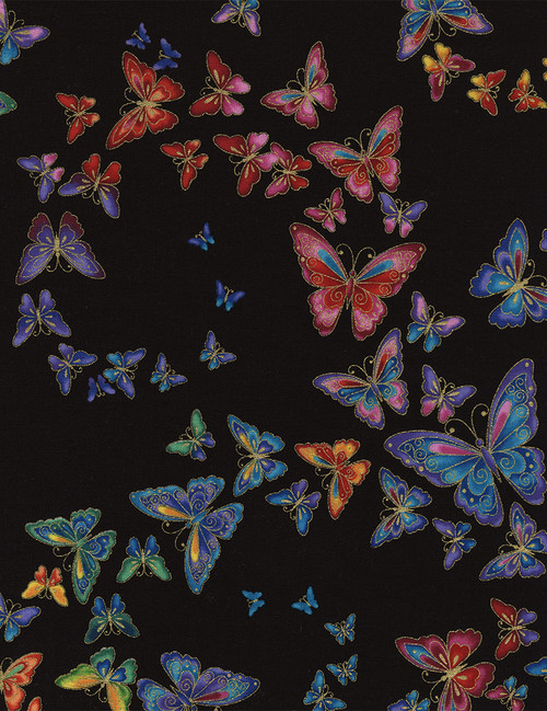 Cotton Print Yarmulkes Allover Butterflies Tiffany - BLACK