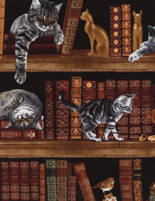 Cotton Print Yarmulkes Cats in the Library - LIBRARY