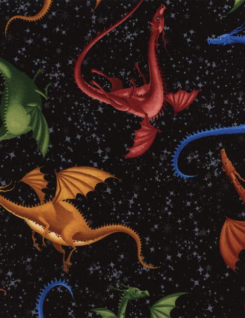 Cotton Print Yarmulkes Dragons - BLACK