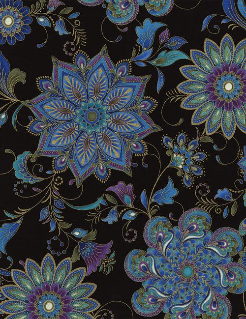 Cotton Print Yarmulkes Dynasty Ornate Floral Medallions - BLACK