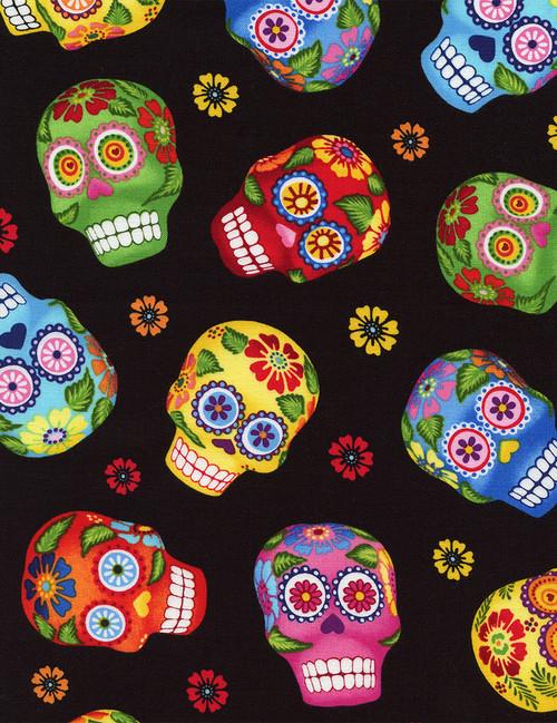 Cotton Print Yarmulkes Sugar Skulls - BLACK