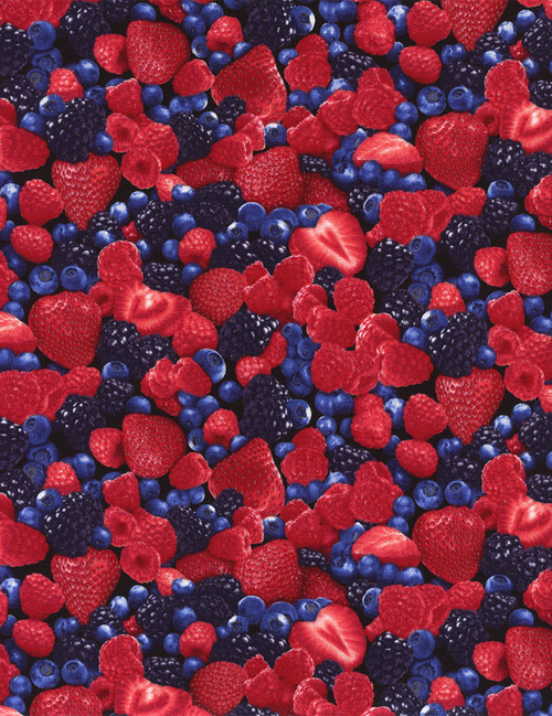 Cotton Print Yarmulkes Mixed Berries - BERRY