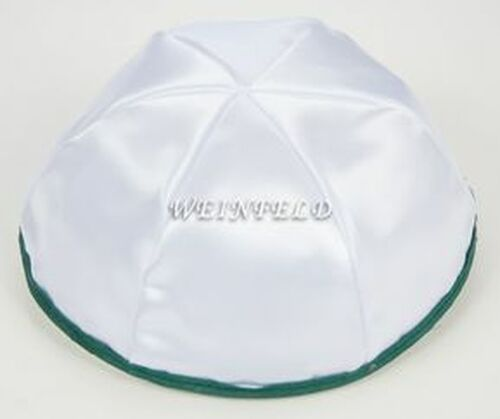 Satin Yarmulkes 6 Panels - Lined - White Satin With Dark Green Rim. Best Quality Bridal Satin