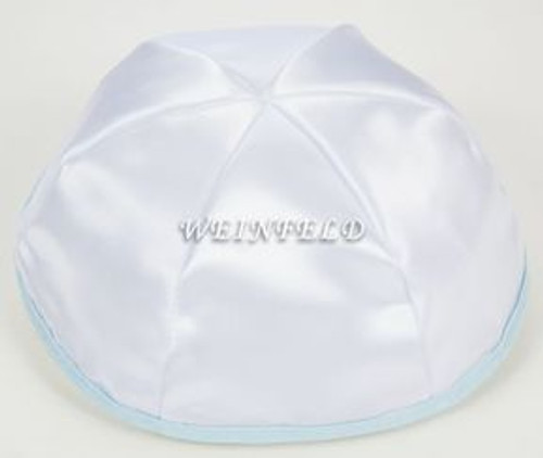 Satin Yarmulkes 6 Panels - Lined - White Satin With Light Blue Rim. Best Quality Bridal Satin