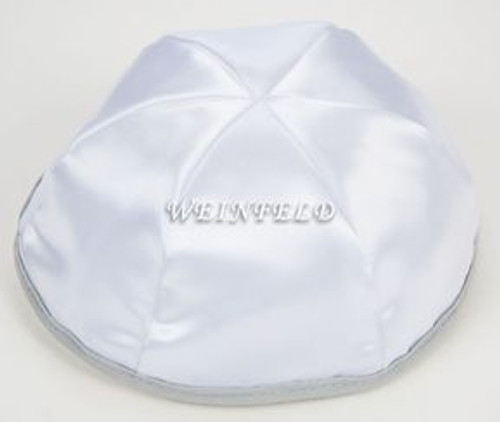 Satin Yarmulkes 6 Panels - Lined - White Satin With Light Grey Rim. Best Quality Bridal Satin