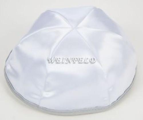Satin Yarmulkes 6 Panels - Lined - White Satin With Light Grey Rim. Best Quality Bridal Satin