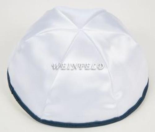 Satin Yarmulkes 6 Panels - Lined - White Satin With Navy Rim. Best Quality Bridal Satin