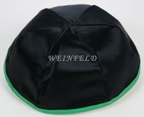 Satin Yarmulkes 6 Panels - Lined - Black Satin With Kelly Green Rim. Best Quality Bridal Satin