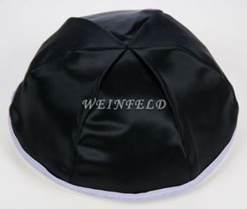 Satin Yarmulkes 6 Panels - Lined - Black Satin With Lavender Rim. Best Quality Bridal Satin