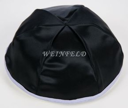 Satin Yarmulkes 6 Panels - Lined - Black Satin With Lavender Rim. Best Quality Bridal Satin