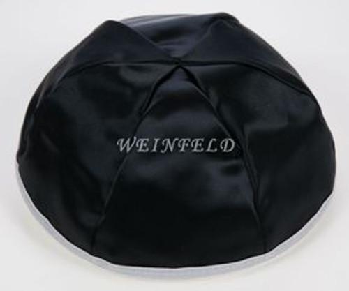 Satin Yarmulkes 6 Panels - Lined - Black Satin With Light Grey Rim. Best Quality Bridal Satin