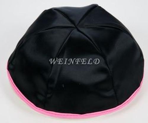 Satin Yarmulkes 6 Panels - Lined - Black Satin With Light Pink Rim. Best Quality Bridal Satin