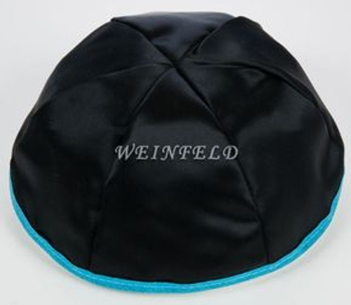 Satin Yarmulkes 6 Panels - Lined - Black Satin With Turquise Rim. Best Quality Bridal Satin