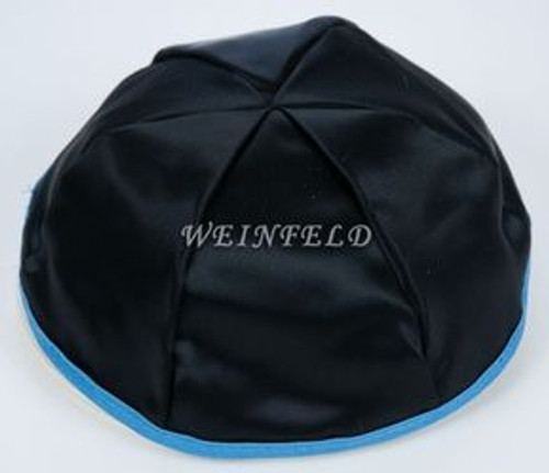 Satin Yarmulkes 6 Panels - Lined - Black Satin With Wedgewood Blue Rim. Best Quality Bridal Satin