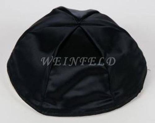 Satin Yarmulkes 6 Panels - Lined - Satin Black With Medium Blue Rim. Best Quality Bridal Satin