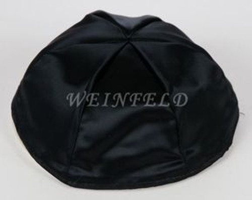 Satin Yarmulkes 6 Panels - Lined - Satin Black With Light Blue Rim. Best Quality Bridal Satin