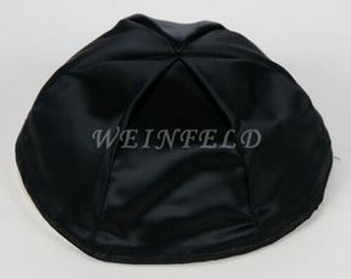 Satin Yarmulkes 6 Panels - Lined - Satin Black With Matching Rim. Best Quality Bridal Satin