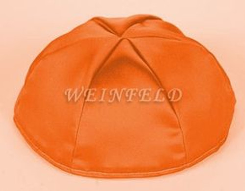 Satin Yarmulkes 6 Panels - Lined - Satin Orange With Red Rim. Best Quality Bridal Satin