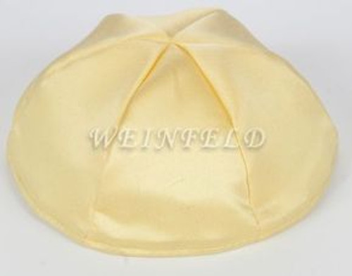 Satin Yarmulkes 6 Panels - Lined - Satin Yellow With Lavender Rim. Best Quality Bridal Satin