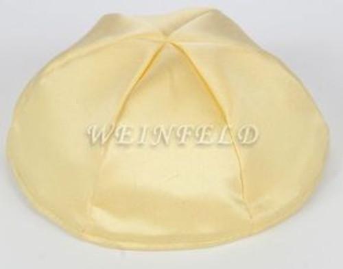 Satin Yarmulkes 6 Panels - Lined - Satin Yellow With Orange Rim. Best Quality Bridal Satin