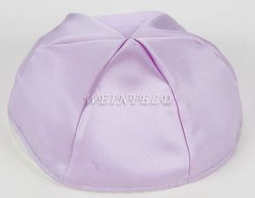 Satin Yarmulkes 6 Panels - Lined - Satin Lavender With Brown Rim. Best Quality Bridal Satin