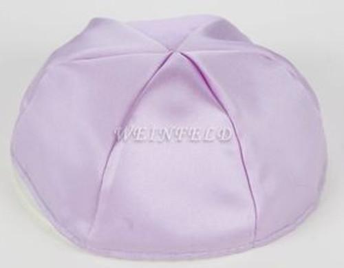 Satin Yarmulkes 6 Panels - Lined - Satin Lavender With Plaid - Blue/White Rim. Best Quality Bridal Satin