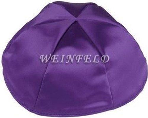 Satin Yarmulkes 6 Panels - Lined - Satin Purple With Light Blue Rim. Best Quality Bridal Satin