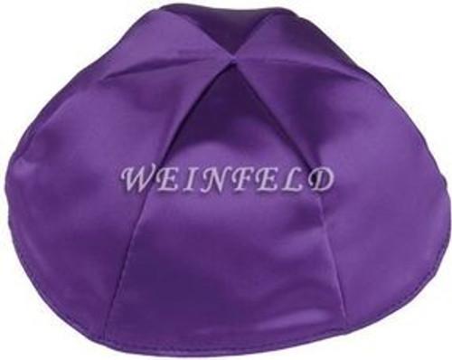Satin Yarmulkes 6 Panels - Lined - Satin Purple With Light Blue Rim. Best Quality Bridal Satin