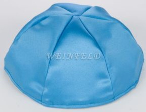Satin Yarmulkes 6 Panels - Lined - Satin Wedgewood Blue With Silver Rim. Best Quality Bridal Satin