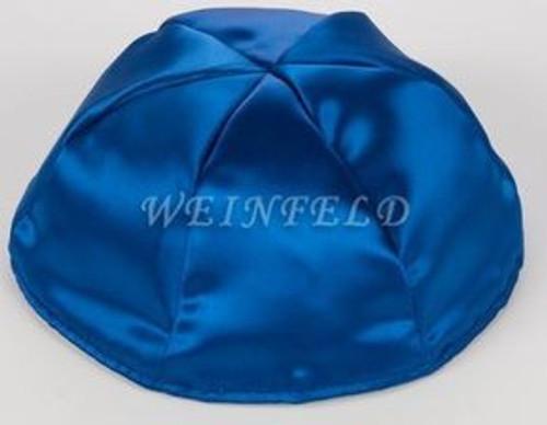 Satin Yarmulkes 6 Panels - Lined - Satin Royal Blue With Plaid - Blue/White Rim. Best Quality Bridal Satin