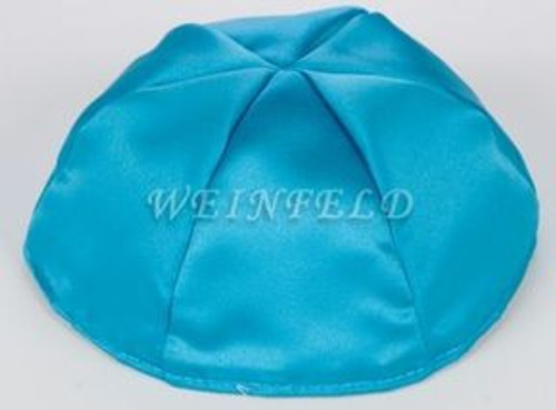 Satin Yarmulkes 6 Panels - Lined - Satin Turquise With Brown Rim. Best Quality Bridal Satin