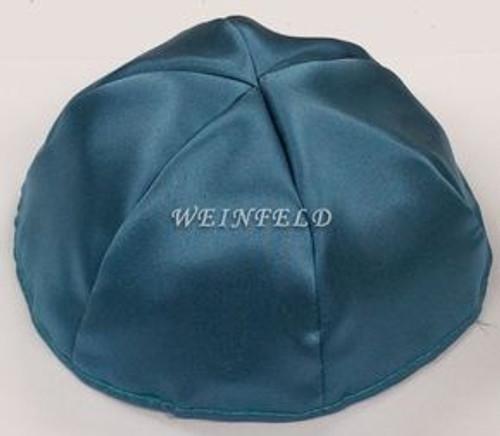 Satin Yarmulkes 6 Panels - Lined - Satin Teal Blue With Light Grey Rim. Best Quality Bridal Satin