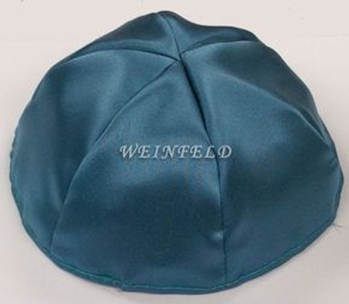 Satin Yarmulkes 6 Panels - Lined - Satin Teal Blue With Plaid - Blue/White Rim. Best Quality Bridal Satin