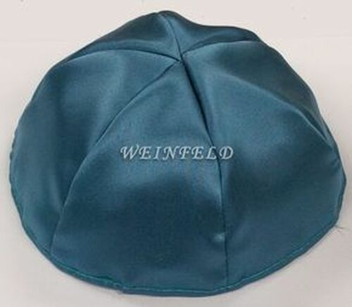 Satin Yarmulkes 6 Panels - Lined - Satin Teal Blue With Shiny Silver Rim. Best Quality Bridal Satin