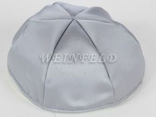 Satin Yarmulkes 6 Panels - Lined - Satin Silver With White Rim. Best Quality Bridal Satin