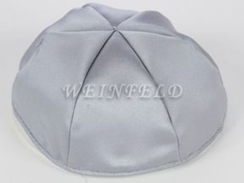 Satin Yarmulkes 6 Panels - Lined - Satin Silver With Shiny Silver Rim. Best Quality Bridal Satin