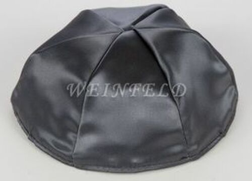 Satin Yarmulkes 6 Panels - Lined - Satin Charcoal Grey With Purple Rim. Best Quality Bridal Satin